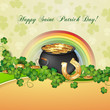 Saint Patrick's Day card with clover and cauldron with gold