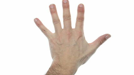 hands counting over white