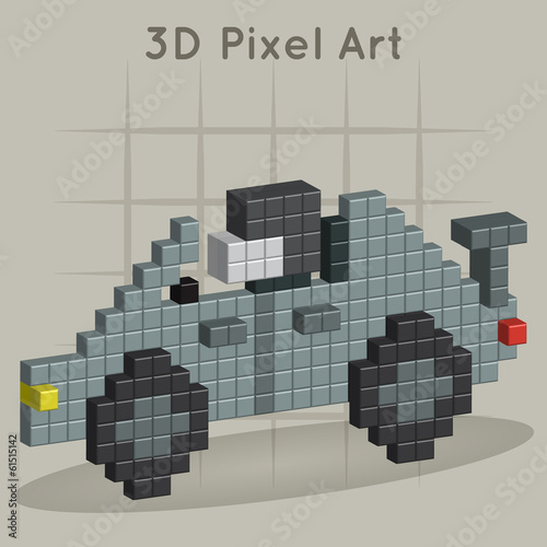 Race car. 3D Pixel Art