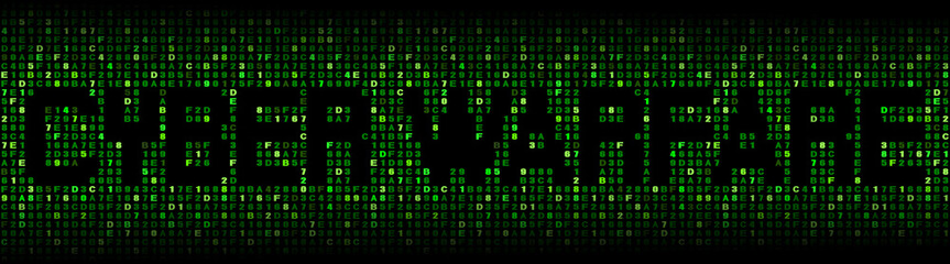 Cyber warfare text on hex code illustration
