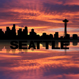 Seattle skyline reflected with text sunset illustration