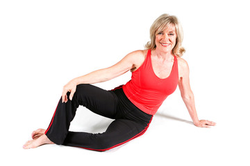 Mature Senior Woman Doing Yoga