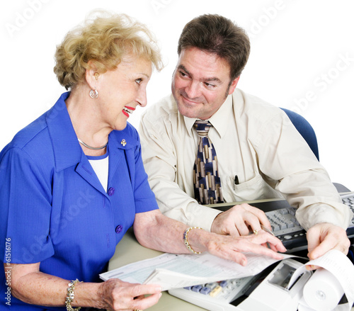 Accountant with Senior Lady