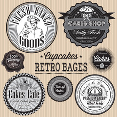 vector set of retro badges for cake