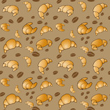 Tasty vector seamless pattern - coffe beans and croissant