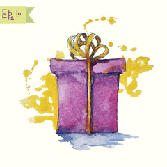watercolor painting of a gift box vector illustration