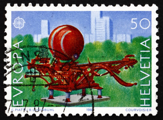 Postage stamp Switzerland 1987 Scarabaeus, 1979, Sculpture