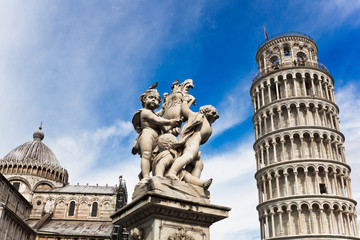 The Pisa Cathedral, The Fountain and leaning Tower