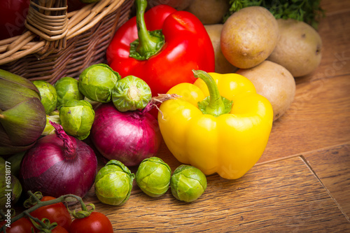 colored vegetables in wicker basket