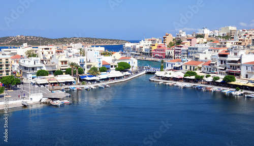View the town of Agios Nikolaos, Crete Island, Greece, Europe