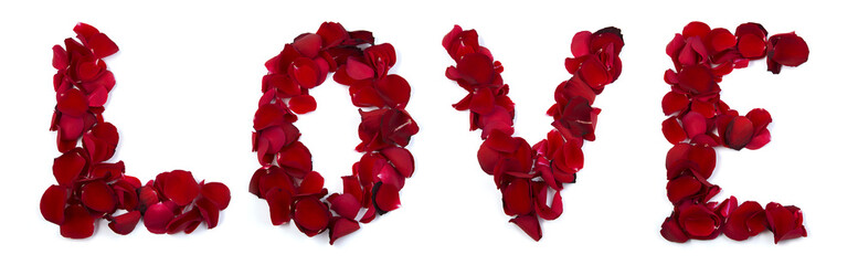 Love written with rose leafs
