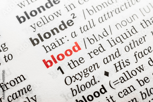 Blood Word Definition In Dictionary Close Up