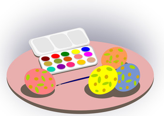 Paintbox and Easter eggs.