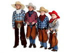 four cowboy brothers standing wearing hats and chaps poster