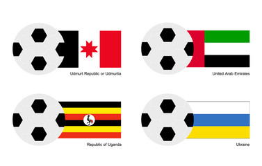 Football with Udmurtia, Arab Emirates, Uganda and Ukraine Flag