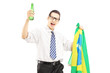 Excited male with beer bottle and brazilian flag