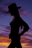 beautirul cowgirl silhouette with her hands on her hips