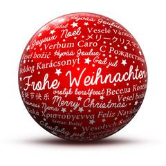 Kugel, Glaskugel, Fröhliche Weihnachten, Rot