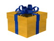 Golden gift box with blue bow