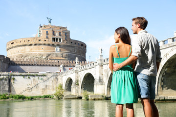 Rome travel tourists by Castel Sant'Angelo
