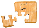 pieces of wooden mechanical puzzle