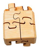 three dimensional wood mechanical puzzle