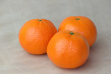 Three tangerines on a gray background