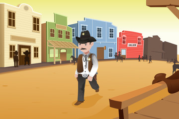 Sheriff walking on an old western town