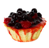 cupcake with strawberries and blueberries