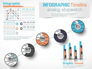 INFOGRAPHIC TIMELINE ANALOG STOPWATCH