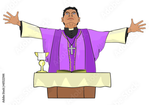 The Catholic priest celebrating Mass at the altar.