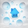 blue house icon with glossy bubbles in the air with flare