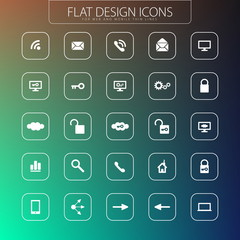 Flat design - icons pack. Simple line icons. Thin Icons Set