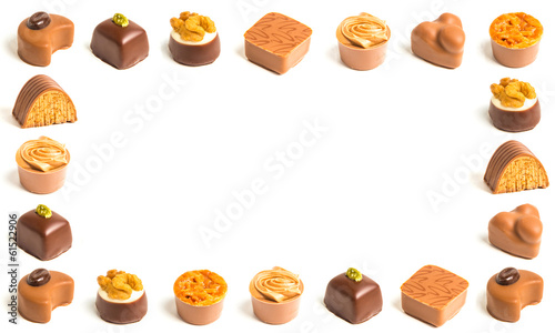 Frame of decorated chocolates