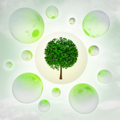 leafy green tree with glossy bubbles in the air with flare
