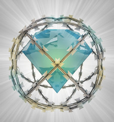 protected diamond in barbed sphere fence