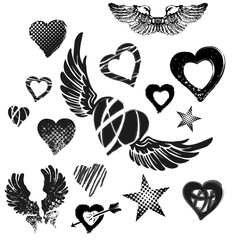 Hearts, wings and stars on white background, grunge, vector