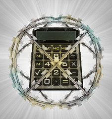 protected calculator in barbed sphere fence