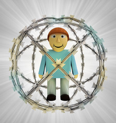 protected man in barbed sphere fence