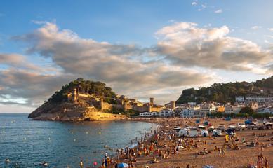 Panoramic view of the castle in Tossa de Mar, Costa Brava, Spain