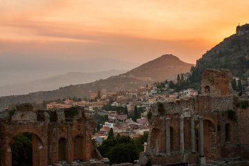 Taormina city and ancient greek amphitheatre, Sicily, Italy