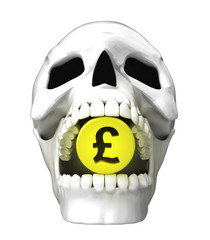 isolated human skull head with golden Pound coin in jaws