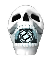 isolated human skull head with undead movie tape in jaws