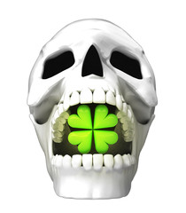 isolated human skull head with cloverleaf happiness in jaws