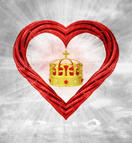 royal crown in red pipe shaped heart on sky grunge background