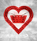 shopping basket in red shaped heart on sky background
