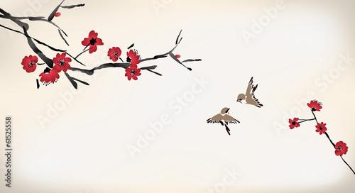 Panel Szklany blossom painting