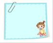 An empty paper template with a paper clip and an infant