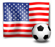 The flag of America with a soccer ball