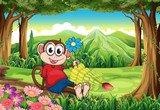 A monkey holding a flower while sitting in the middle of the for